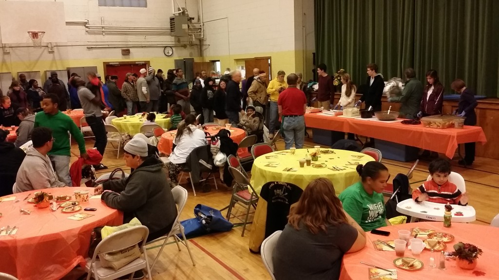 "Many of our less fortunate brothers and sisters are served a hot meal at our monthly ""Hospitality Dinner""."