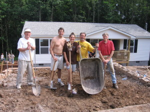 Members helping build a Habitat for Humanity house.